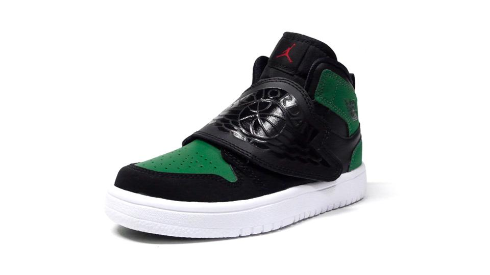 NIKE SKY JORDAN 1 PS BLACK/BLACK/PINE GREEN/GYM RED  1