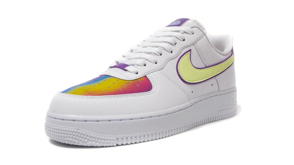 NIKE (WMNS) AIR FORCE 1 EAS WHITE/BARELY VOLT/HYPER BLUE/PURPLE/WASHED CORAL  1