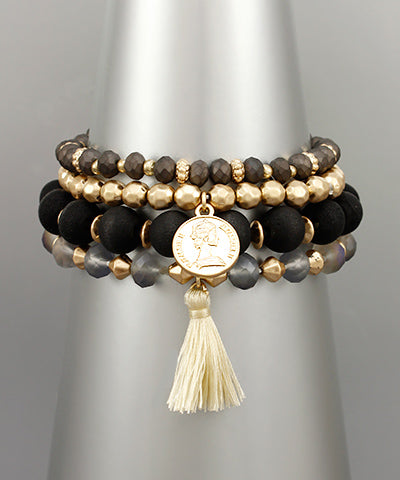 Coin Multi Baed Layer Bracelet