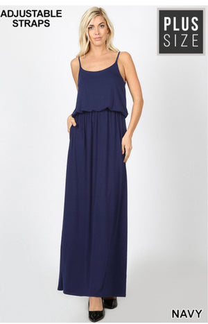 Curvy Adjustable Spaghetti Strap Maxi