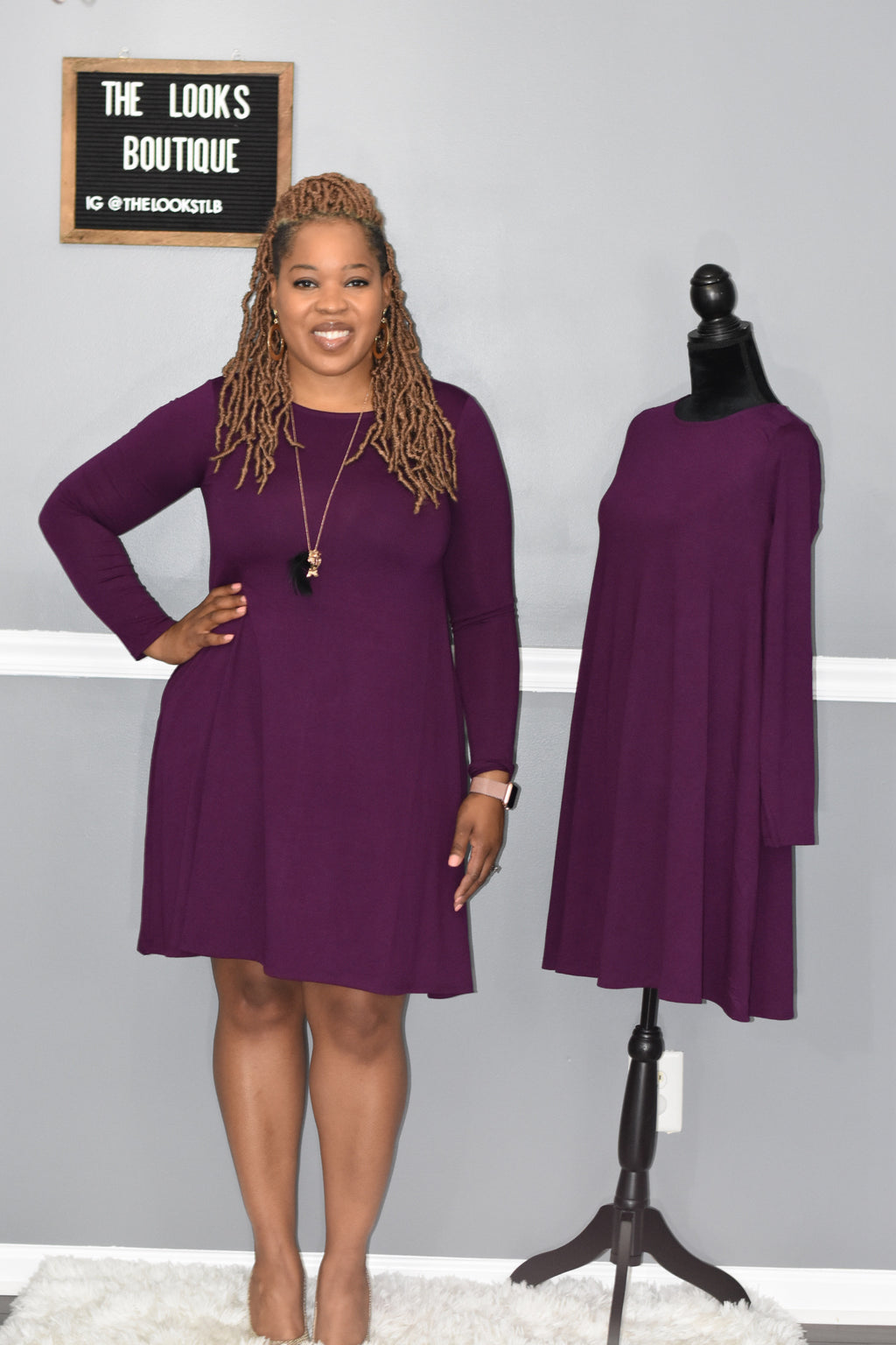 Plum Knee Dress