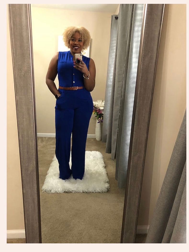 Flirty Royal Jumpsuit