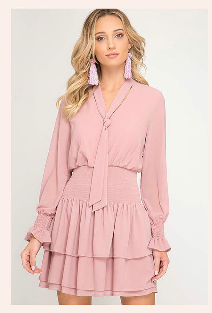 Dusty Rose Ruffle Dress