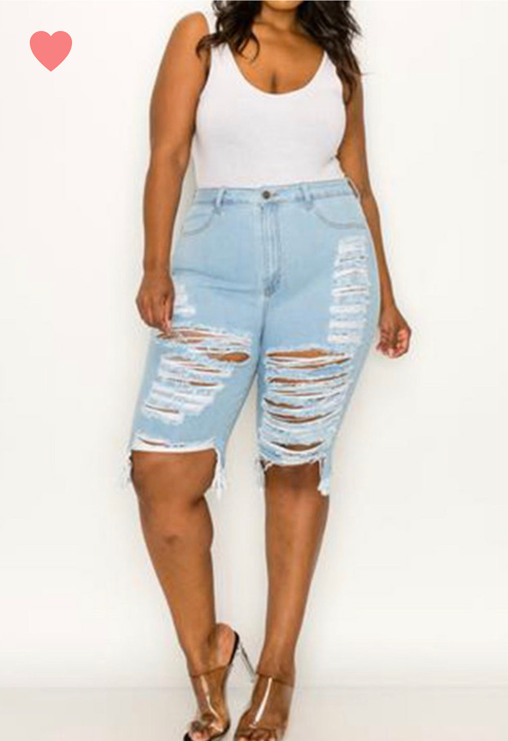 Curvy Ripped Knee Shorts