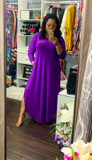 Purple Curved Hem Maxi