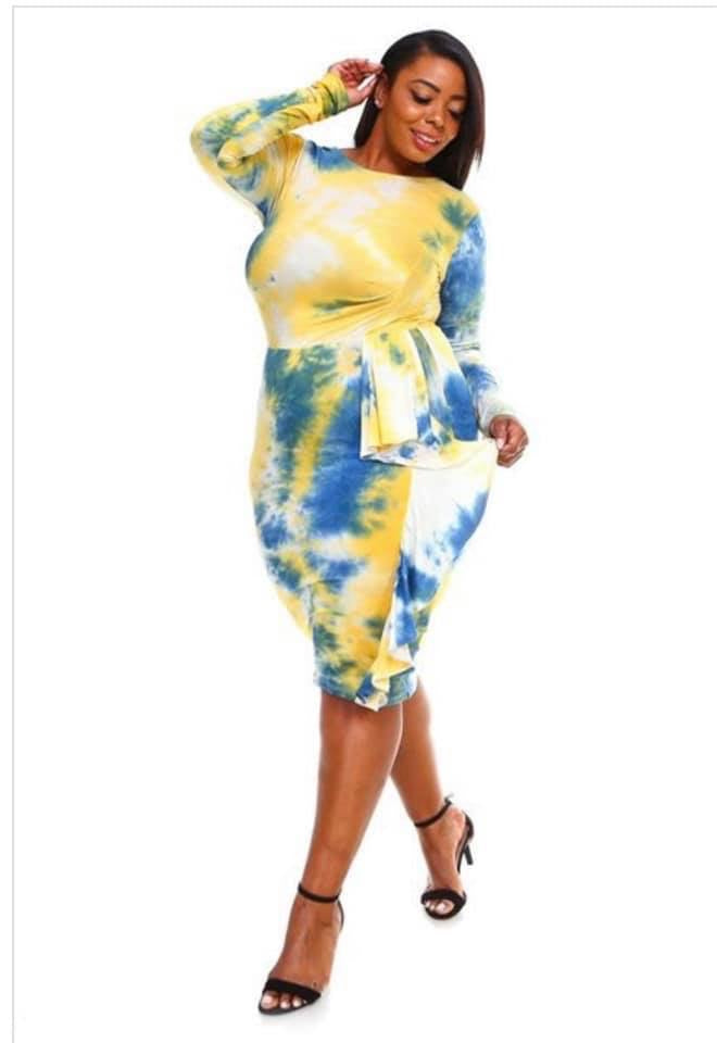 Yellow & Blue Tie Dye Dress