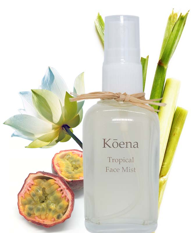Tropical face mist with essential oils.