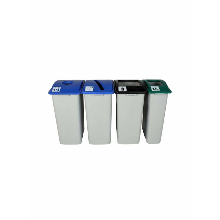 Busch Systems Waste Watcher XL 119 Gallon Four Stream Plastic Recycling Receptacle - 101354 - Trash Cans Depot
