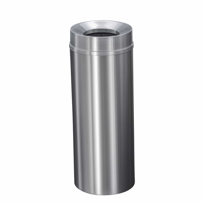 Glaro New Yorker Funnel 12 Gallon Satin Aluminum Trash Can - F1232SA-SA - Trash Cans Depot