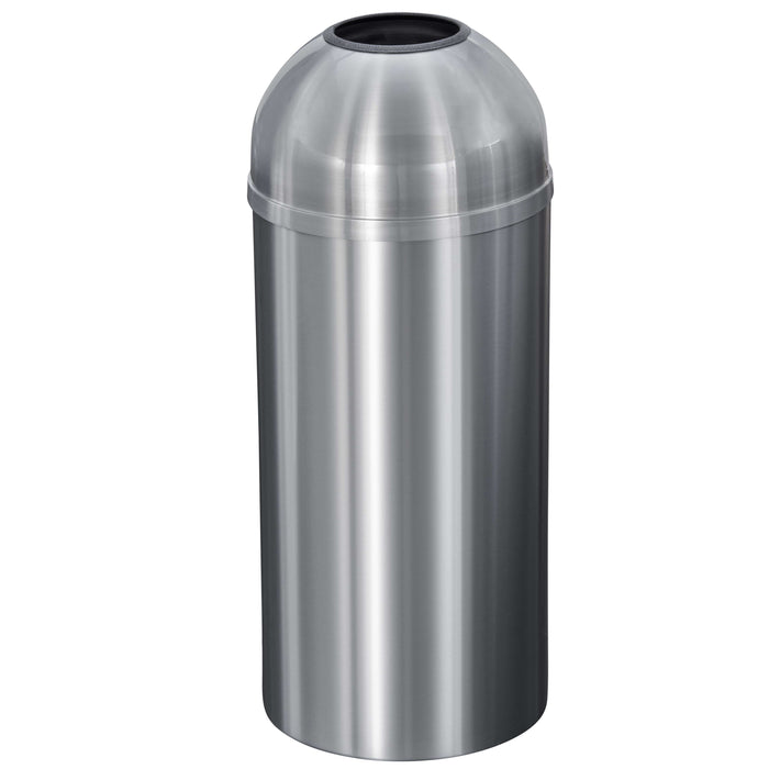 Glaro New Yorker Open Dome Top 12 Gallon Satin Aluminum Trash Can - T1530SA-SA - Trash Cans Depot