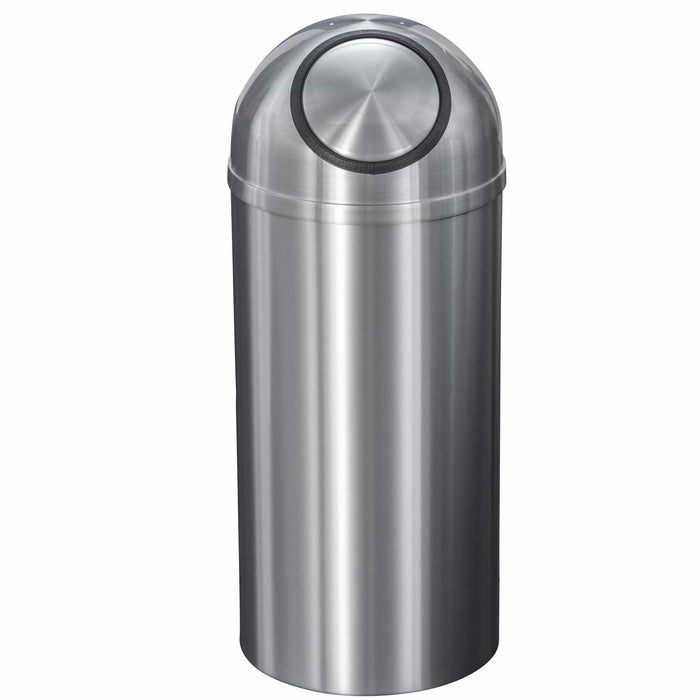 Glaro New Yorker Self Closing Dome Top 12 Gallon Satin Aluminum Trash Can - S1530SA-SA - Trash Cans Depot