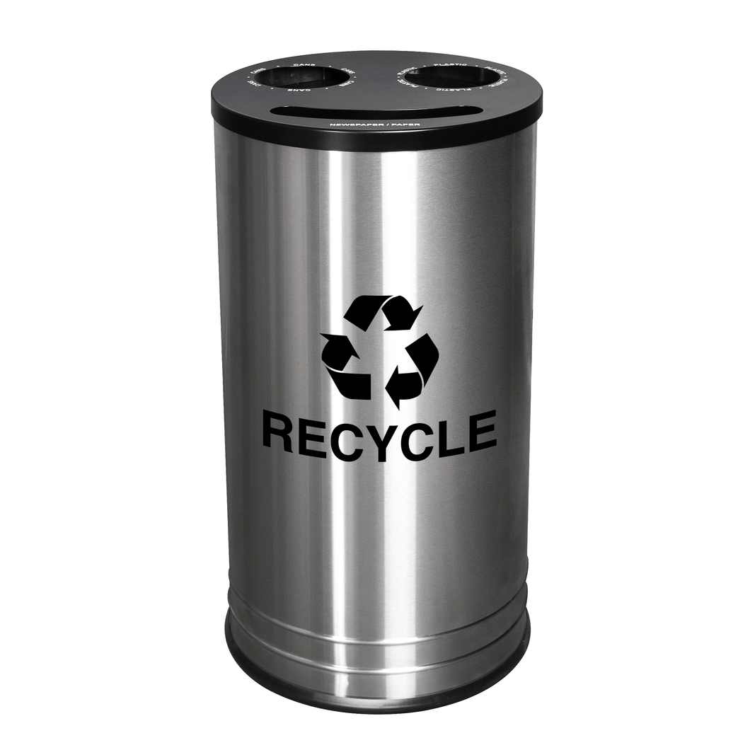 Ex-Cell Kaiser Smiley Series 14 Gallon Stainless Steel Recycling Receptacle - RC-1528-3 SS - Trash Cans Depot