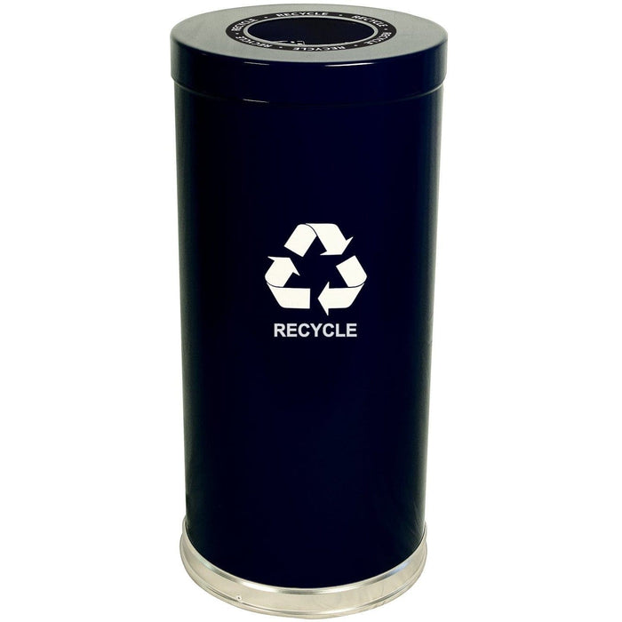 Witt Industries Emoti-Can 15 Gallon Single Stream Steel Recycling Receptacle - 15RTBK-1H - Trash Cans Depot