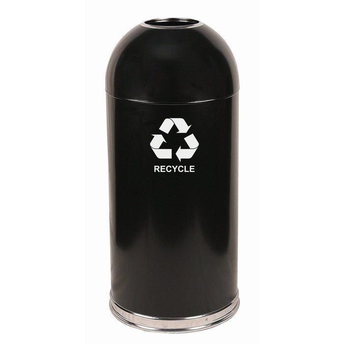 Witt Industries Open Dome Top 15 Gallon Steel Recycling Receptacle - 415DTBK-R - Trash Cans Depot