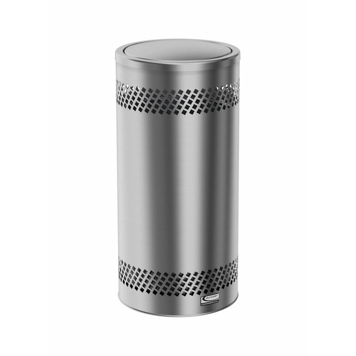 Suncast Commercial Accent Flip Top 15 Gallon Stainless Steel Trash Can - MTCSS1502 - Trash Cans Depot