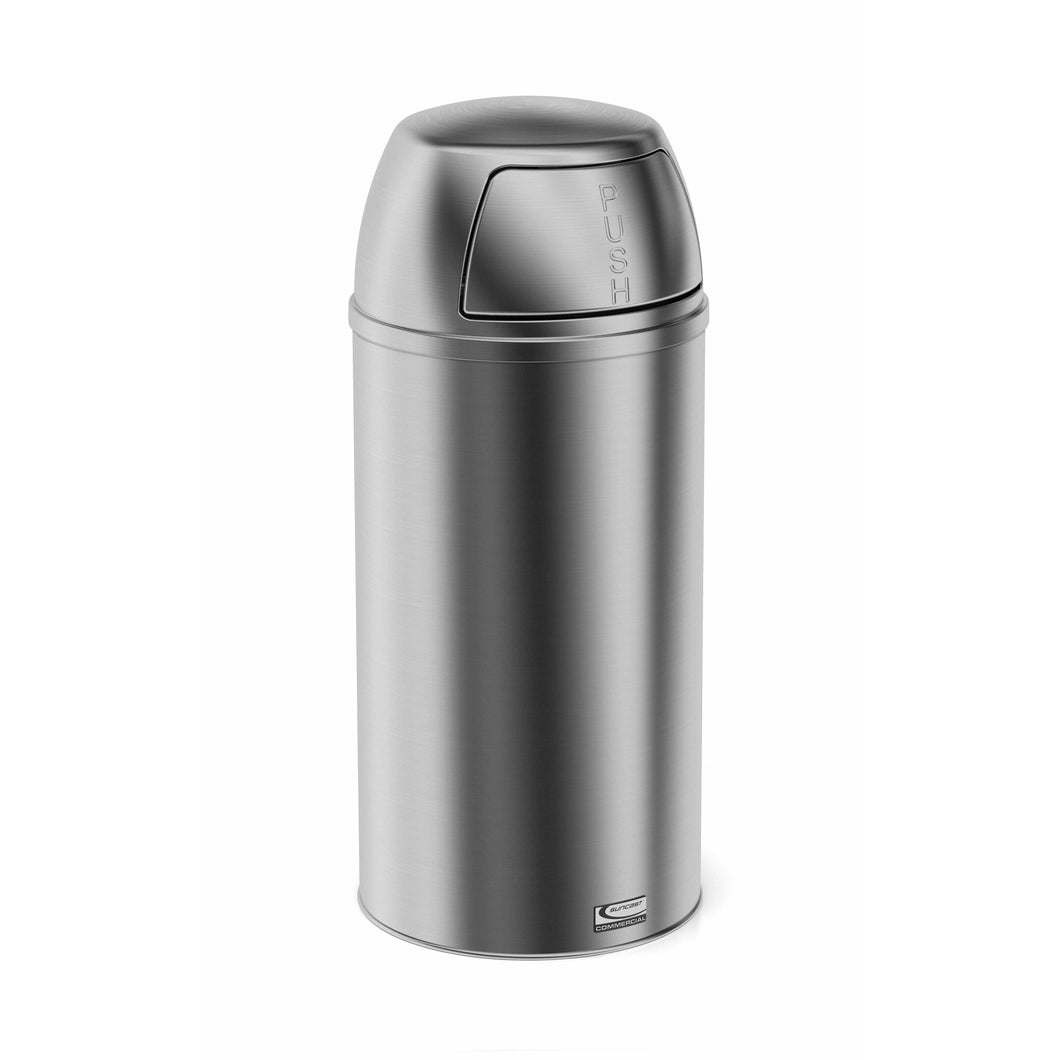 Suncast Commercial Accent Push Lid 15 Gallon Stainless Steel Trash Can - MTCSS1504 - Trash Cans Depot