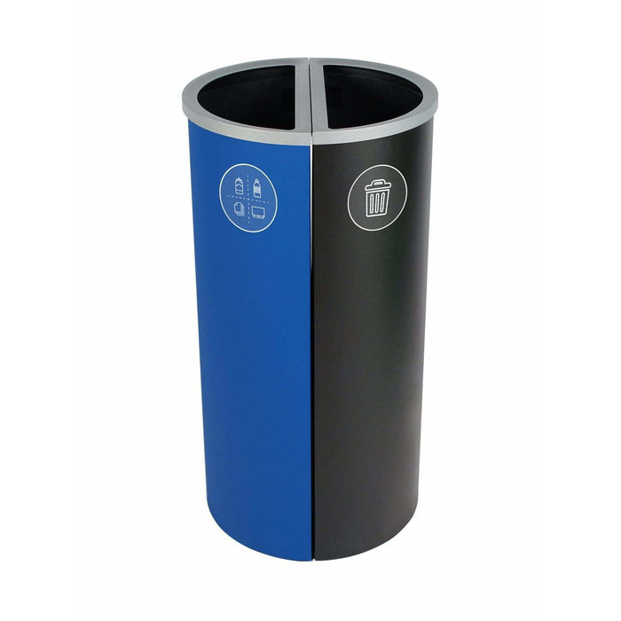 Busch Systems Spectrum 16 Gallon Slim Ellipse Double Stream Steel Recycling Receptacle - 101174 - Trash Cans Depot