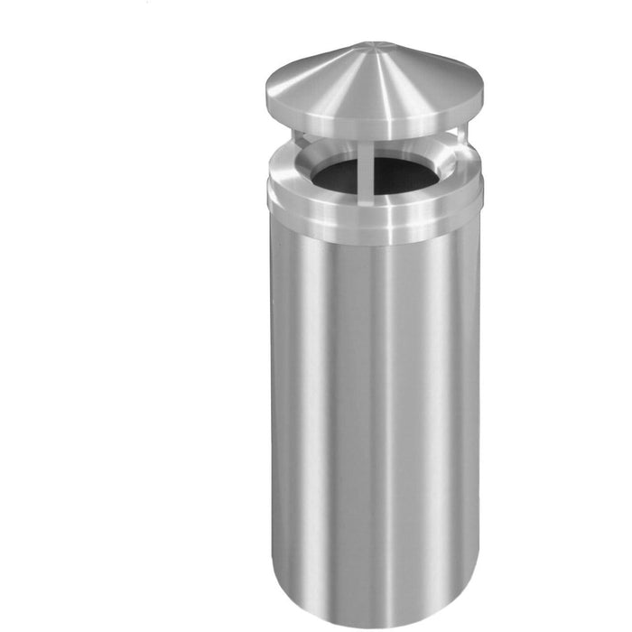 Glaro New Yorker Canopy Top 16 Gallon Satin Aluminum Trash Can - H1501SA-SA - Trash Cans Depot