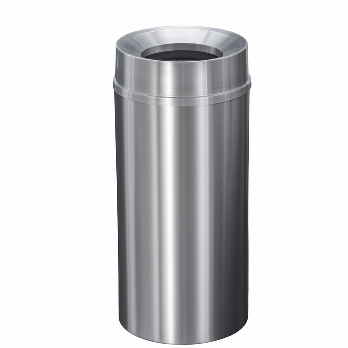 Glaro New Yorker Funnel 16 Gallon Satin Aluminum Trash Can - F1533SA-SA - Trash Cans Depot