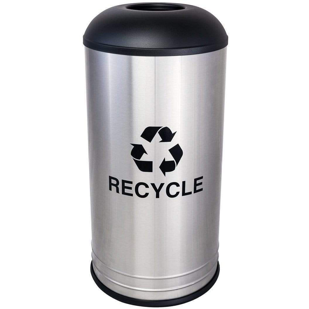 Ex-Cell Kaiser Cafe Style 18 Gallon Stainless Steel Recycling Receptacle - RC-1531 D-6 SS BLX - Trash Cans Depot