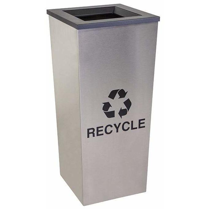 Ex-Cell Kaiser Metro Collection 18 Gallon Single Stream Stainless Steel Recycling Receptacle - RC-MTR-1 SS - Trash Cans Depot