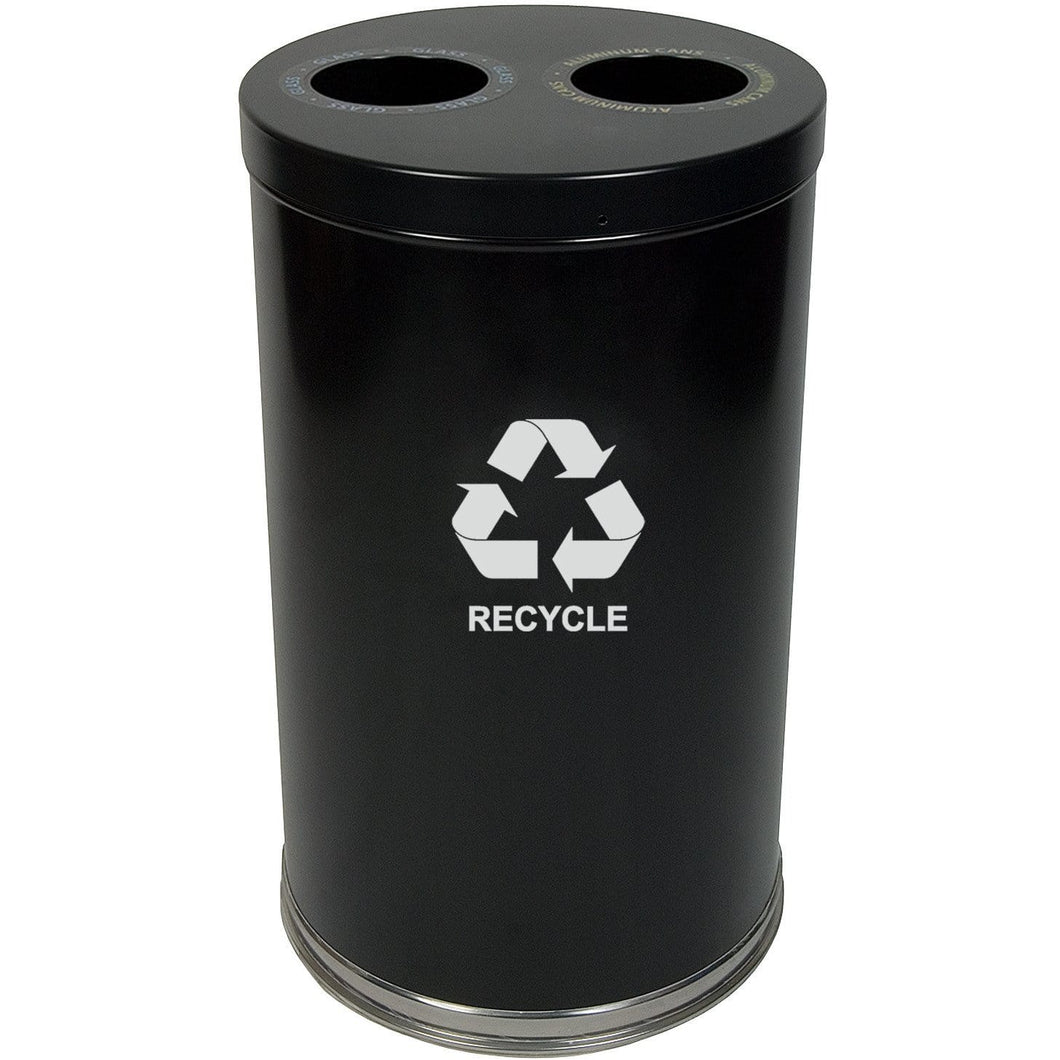 Witt Industries Emoti-Can 20 Gallon Two Stream Steel Recycling Receptacle - 18RTBK-2H - Trash Cans Depot