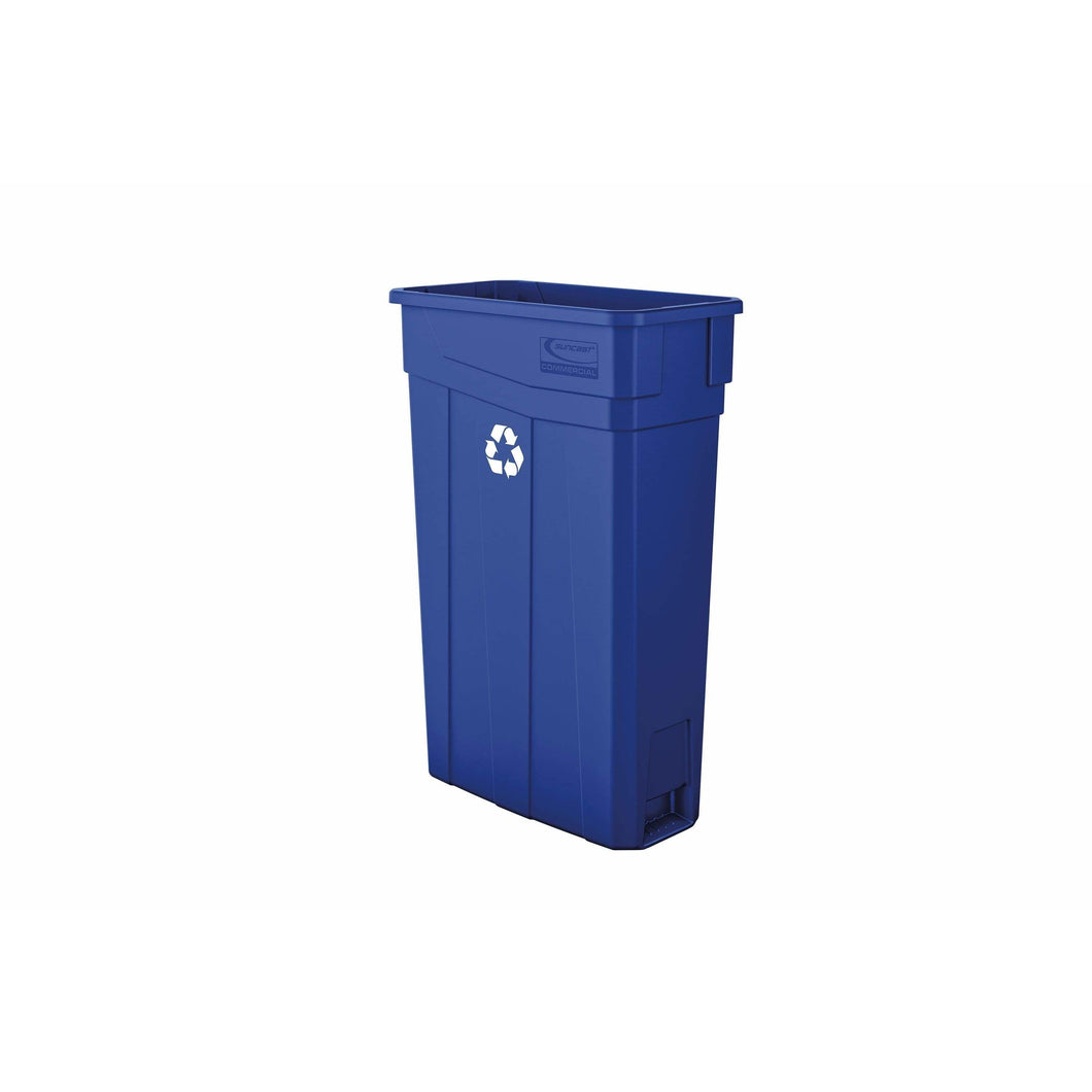 Suncast Commercial Slim 23 Gallon Resin Recycling Bin - TCN2030BLR - Trash Cans Depot