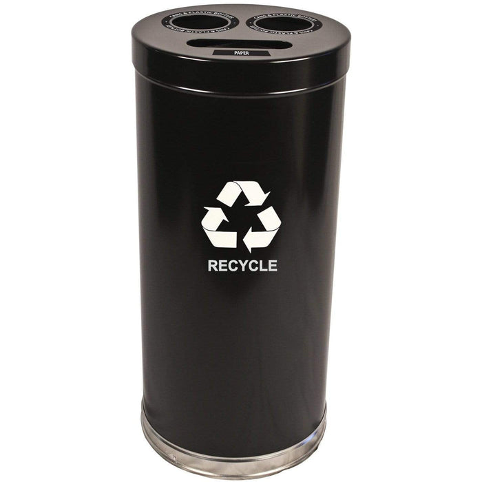 Witt Industries Emoti-Can 24 Gallon Three Stream Steel Recycling Receptacle - 15RTBK - Trash Cans Depot