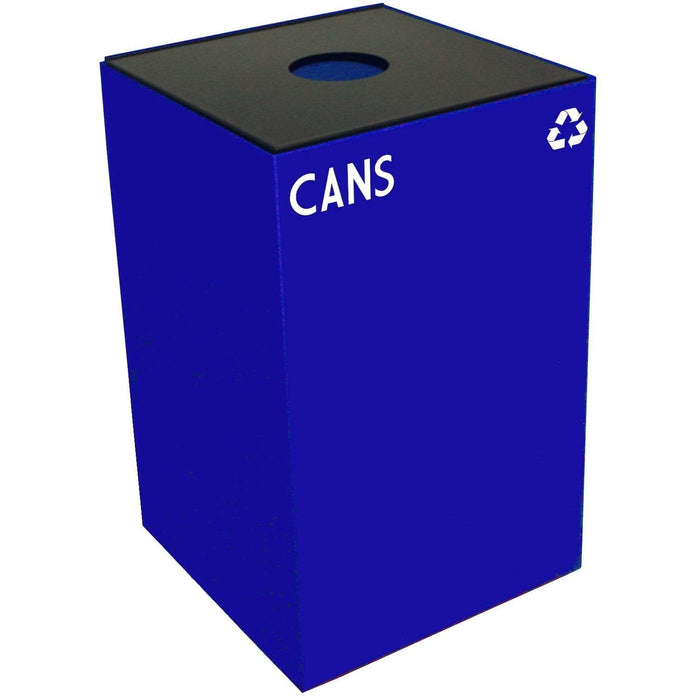 Witt Industries GeoCube Collection 24 Gallon Steel Recycling Receptacle - 24GC01-BL - Trash Cans Depot