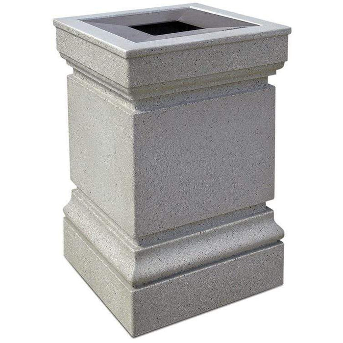 Wausau Tile Cartier Pitch In Top 24 Gallon Concrete Trash Receptacle - WS1043 - Trash Cans Depot