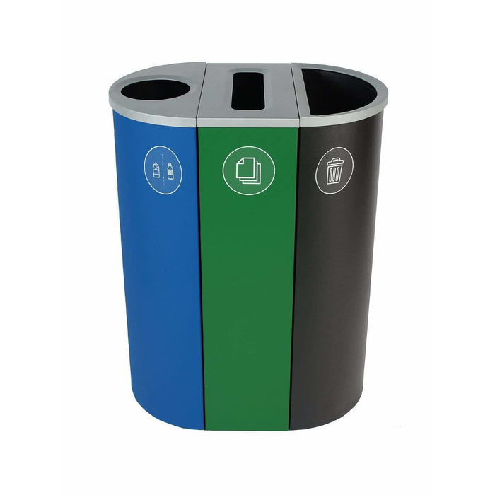 Busch Systems Spectrum 26 Gallon Slim Ellipse-Cube Triple Stream Steel Recycling Receptacle - 101199 - Trash Cans Depot