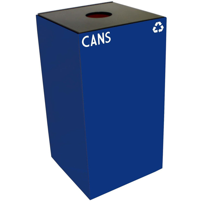 Witt Industries GeoCube Collection 28 Gallon Steel Recycling Receptacle - 28GC01-BL - Trash Cans Depot