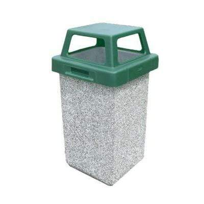 Wausau Made 4 Way Open Top 30 Gallon Concrete Trash Receptacle - TF1016 - Trash Cans Depot