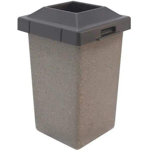 Wausau Tile Pitch In Top 30 Gallon Concrete Trash Receptacle - TF1010 - Trash Cans Depot