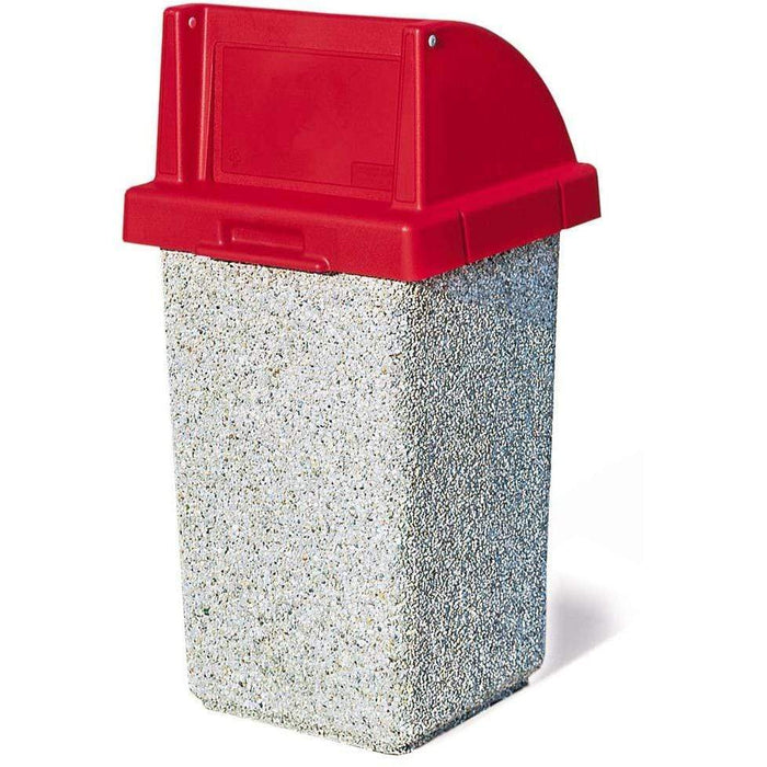 Wausau Made Push Door Top 30 Gallon Concrete Trash Receptacle - TF1015 - Trash Cans Depot
