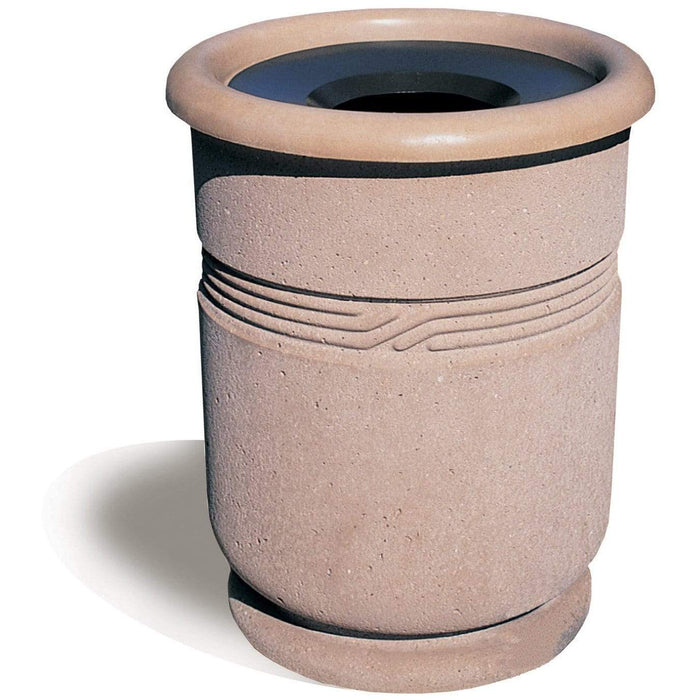 Wausau Tile Classical Funnel Top 31 Gallon Concrete Trash Receptacle - WS1117 - Trash Cans Depot