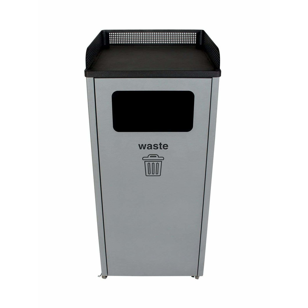 Busch Systems Courtside 32 Gallon Single Stream Steel Trash Receptacle - 100920 - Trash Cans Depot