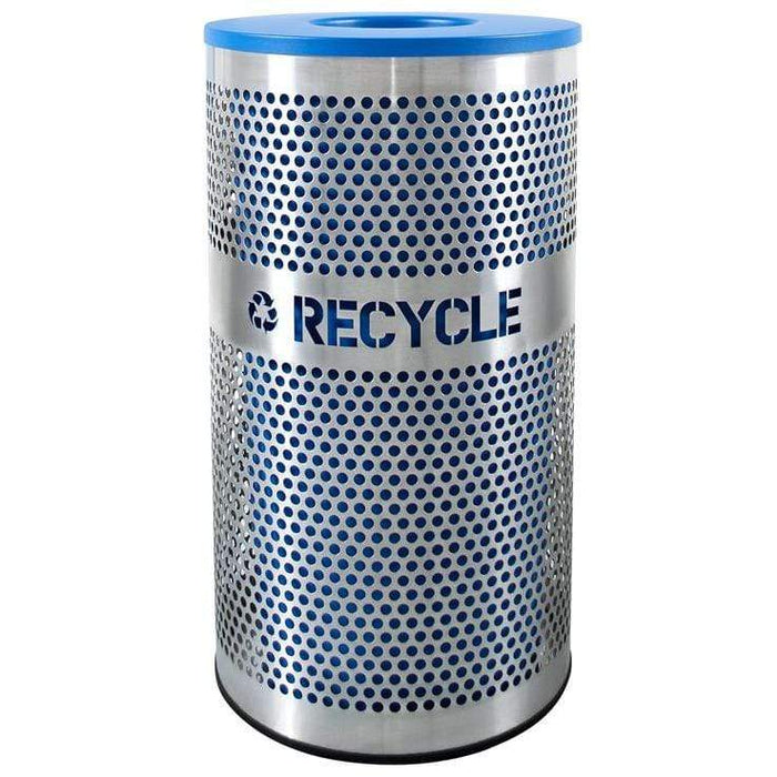 Ex-Cell Kaiser Venue Collection 33 Gallon Stainless Steel Recycling Receptacle - VCR-33 PERF SS - Trash Cans Depot