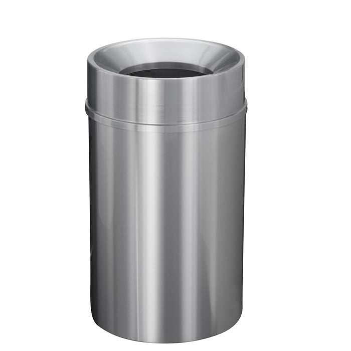 Glaro New Yorker Funnel 33 Gallon Satin Aluminum Trash Can - F2035SA-SA - Trash Cans Depot