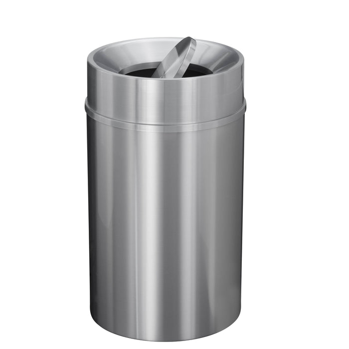 Glaro New Yorker Tip Action 33 Gallon Satin Aluminum Trash Can - TA2035SA-SA - Trash Cans Depot