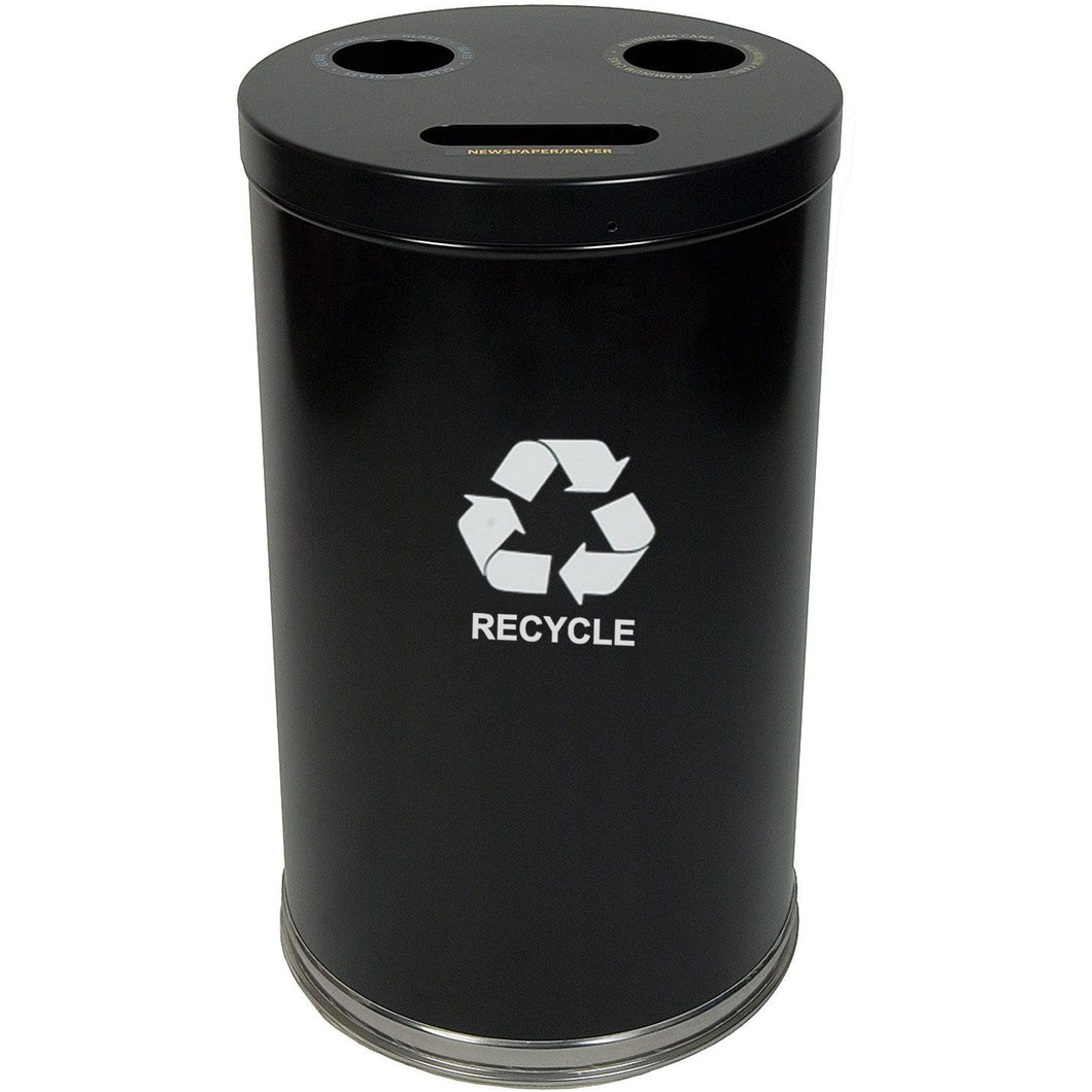 Witt Industries Emoti-Can 34.5 Gallon Three Stream Steel Recycling Receptacle - 18RTBK - Trash Cans Depot