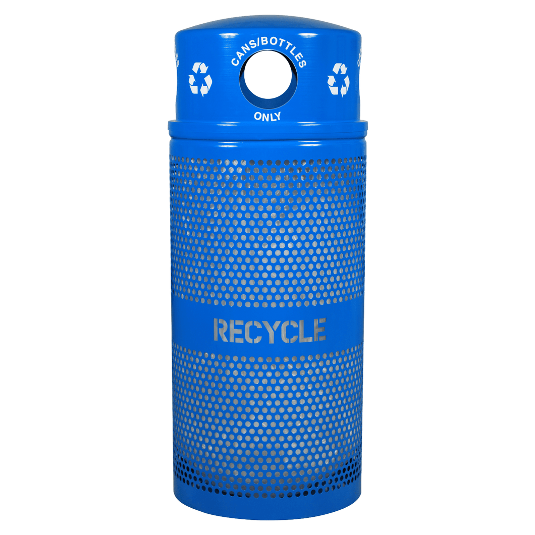 Ex-Cell Kaiser Landscape Series 34 Gallon Steel Recycling Receptacle - RC-34R DM CANS RBL - Trash Cans Depot