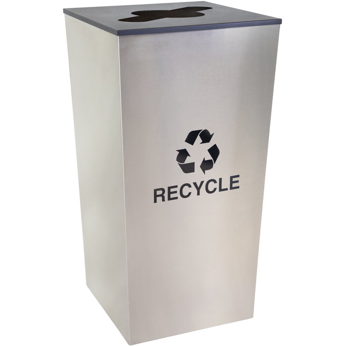34 Gallon Recycling Bin - Ex-Cell Kaiser Metro Collection 34 Gallon Stainless Steel Recycling Receptacle - RC-MTR-34 R SS
