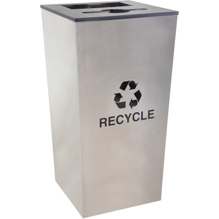 34 Gallon Recycling Bin - Ex-Cell Kaiser Metro Collection 34 Gallon Two Stream Stainless Steel Recycling Receptacle - RC-MTR-34 COMBO SS