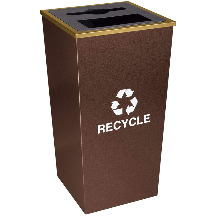 Ex-Cell Kaiser Metro Collection 34 Gallon Two Stream Steel Recycling Receptacle - RC-MTR-34 COMBO HCPR - Trash Cans Depot