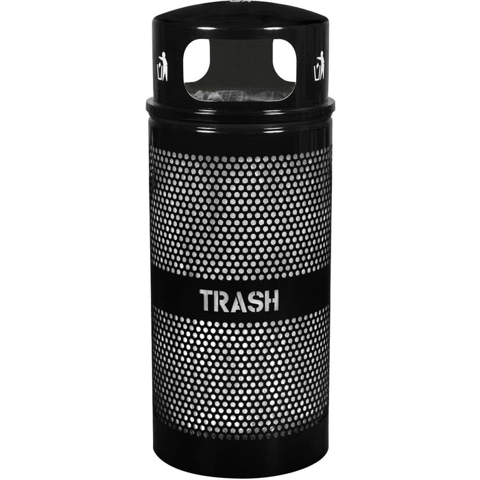 Ex-Cell Kaiser Landscape Series 34 Gallon Steel Trash Receptacle - WR-34R DM BLACK - Trash Cans Depot