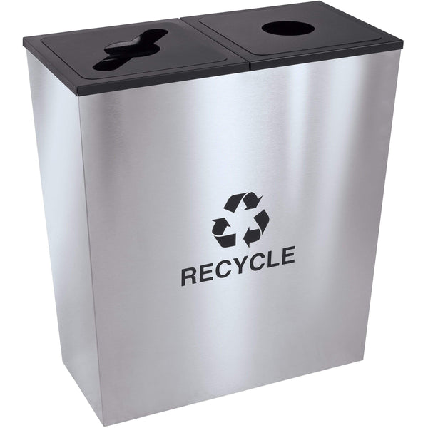 Ex-Cell Kaiser Metro Collection 36 Gallon Two Stream Stainless Steel Recycling Receptacle - RC-MTR-2 SS - Trash Cans Depot