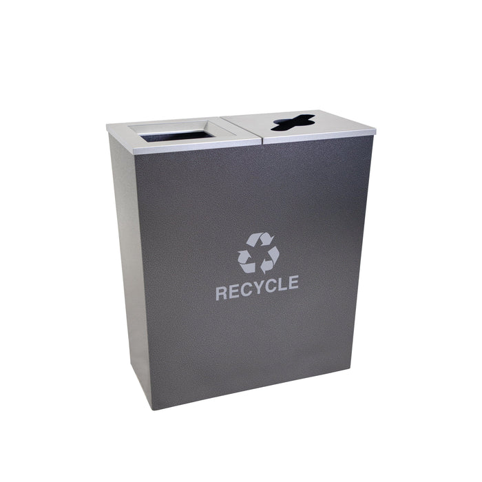 36 Gallon Recycling Bin - Ex-Cell Kaiser Metro Collection 36 Gallon Two Stream Steel Recycling Receptacle - RC-MTR-2 HCCL