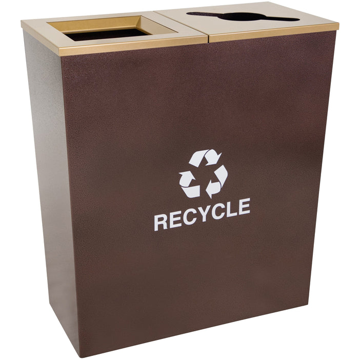 Ex-Cell Kaiser Metro Collection 36 Gallon Two Stream Steel Recycling Receptacle - RC-MTR-2 HCPR - Trash Cans Depot