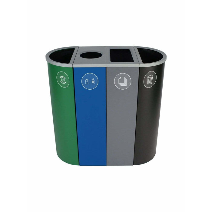 Busch Systems Spectrum 36 Gallon Slim Ellipse-Cube Four Stream Steel Recycling Receptacle - 101212 - Trash Cans Depot